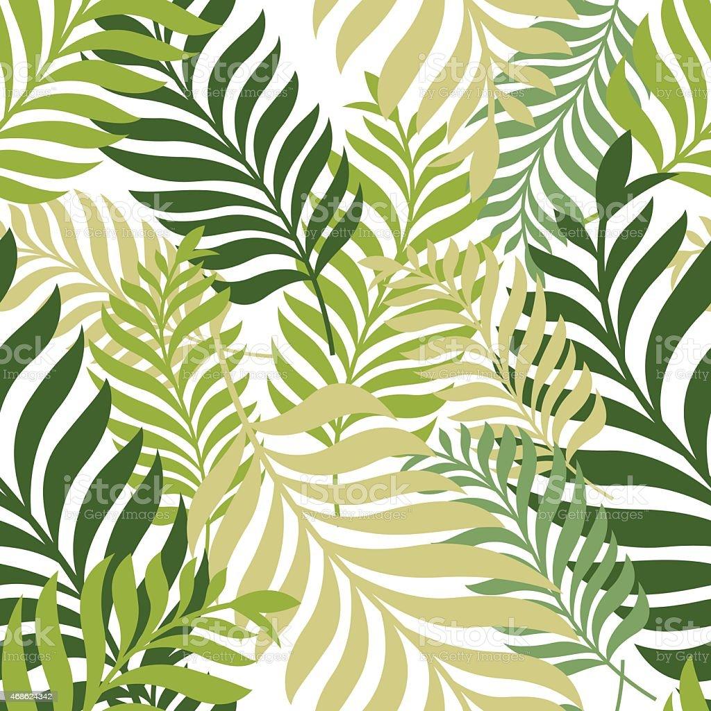Green palm tree leaves vector seamless pattern nature organic background stock vector art - Papier peint enfant vintage ...