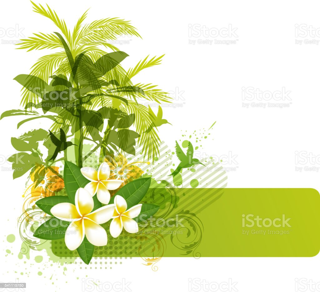Green palms and tropical flowers