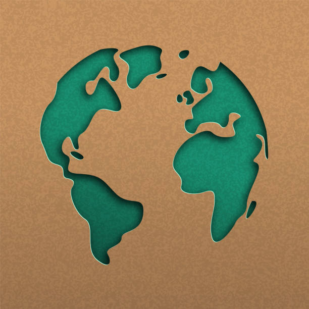 Green papercut world map on recycled paper Papercut world map illustration. Green cutout earth in recycled paper for planet conservation awareness. environmental issues stock illustrations