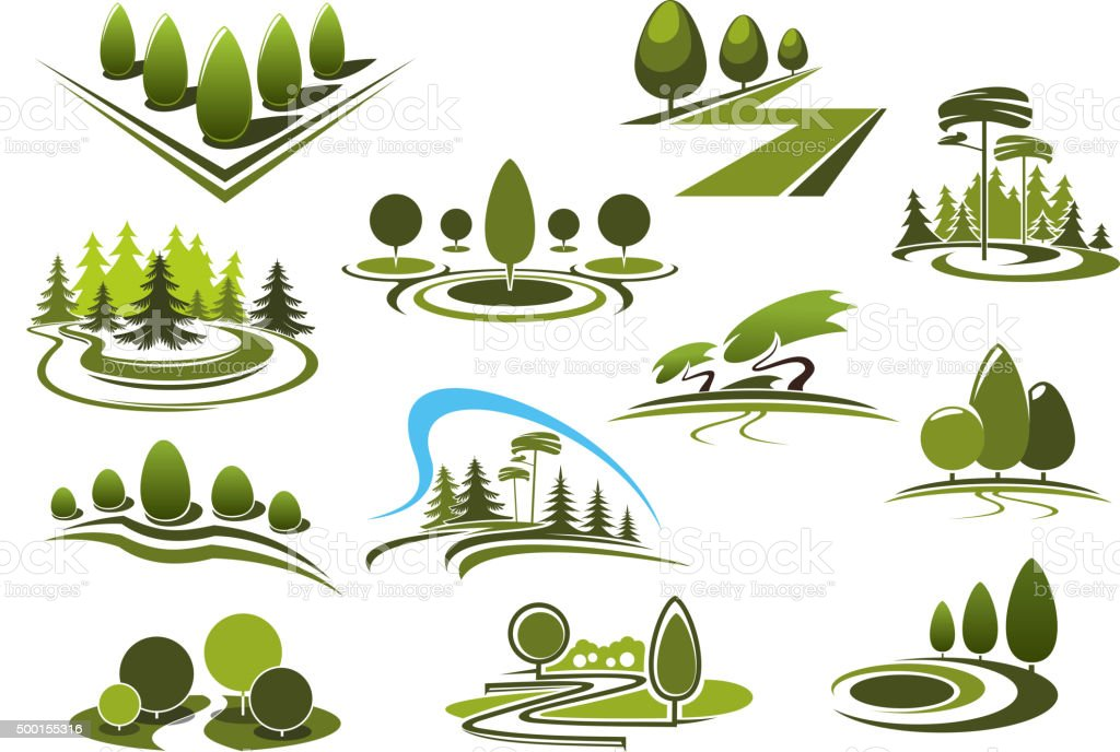 Green park, garden and forest landscape icons vector art illustration