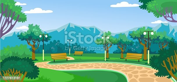 istock Green park with beautiful landscape and mountains 1227613191