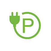 Green Parking Lot Charging Stations Symbol. Electric Car Charging Point Sign.