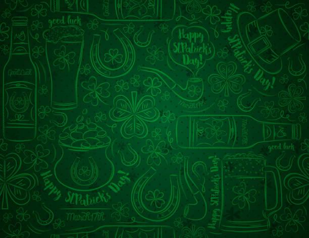 bira kupa, bira şişesi, nal, şapka, boru, shamrocks, altın sikke ile pot, vektör illüstrasyon ile yeşil patrick günü arka plan. duvar kağıdı, web, hurda rezervasyon, vektör illüstrasyon için kullanılabilir. - aziz patrik günü stock illustrations