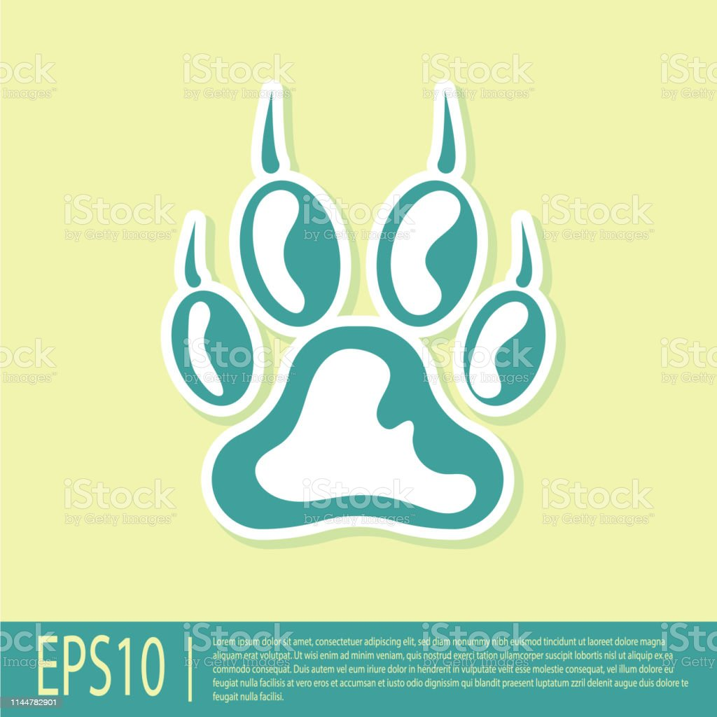 Green Paw print icon isolated on yellow background. Dog or cat paw...