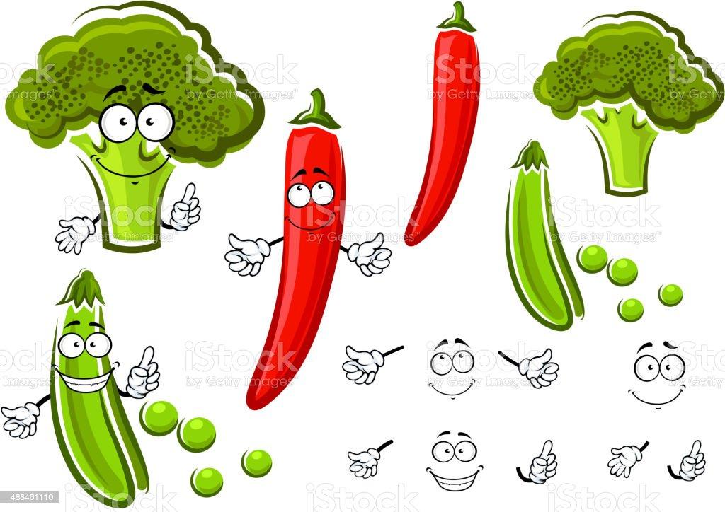 Green pea, broccoli and chilli pepper vector art illustration