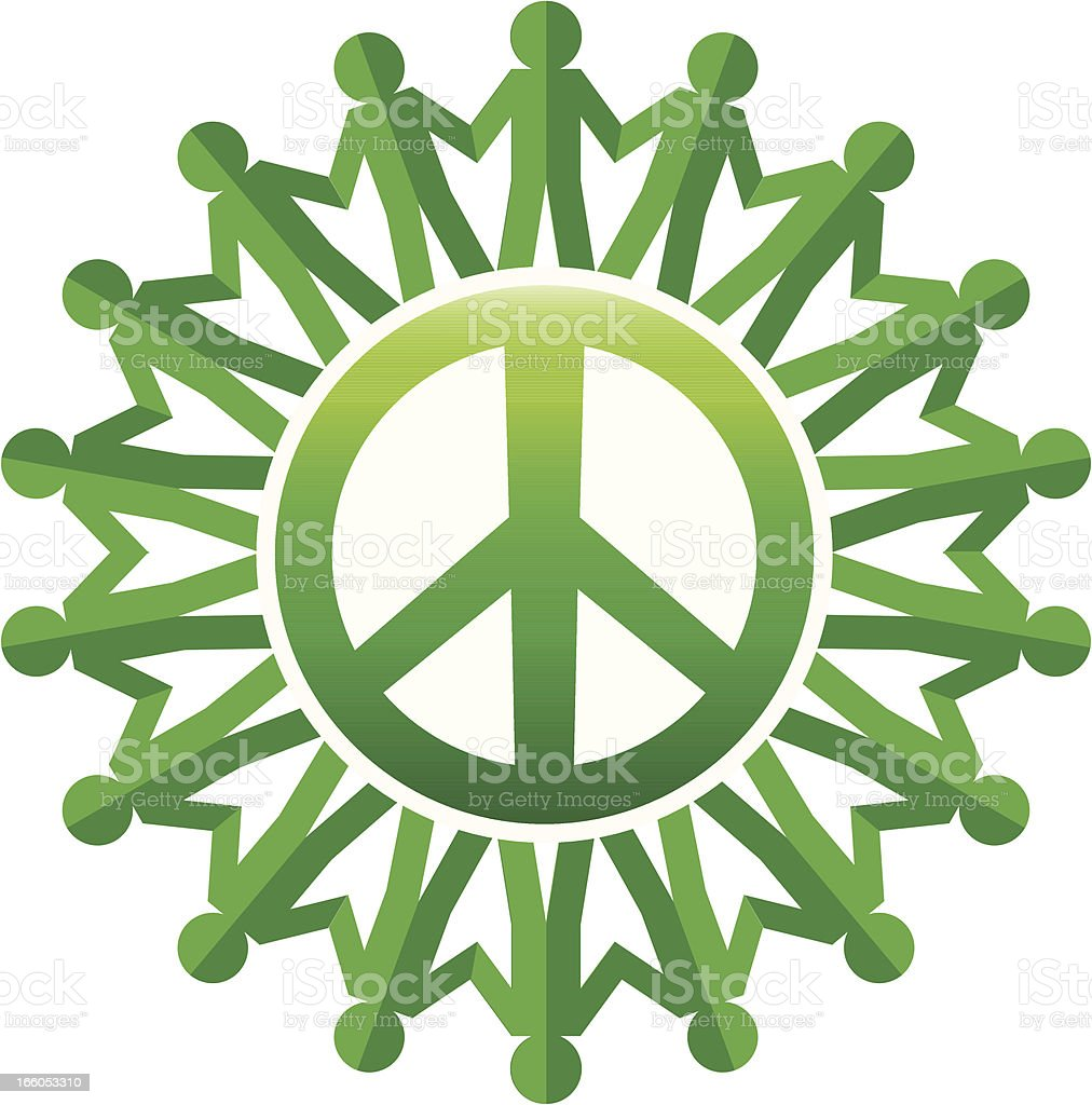 green peace symbol with paper chain people vector art illustration