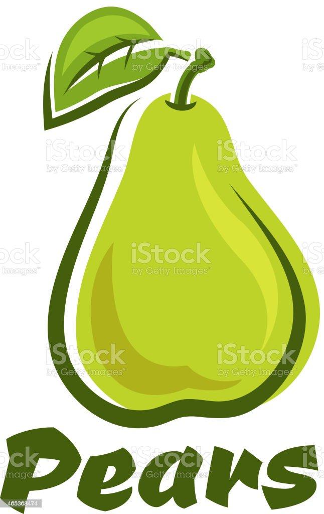 Grüne Birne Früchte mit Blatt – Vektorgrafik