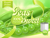 Green Peas. 3d realistic vector, package design
