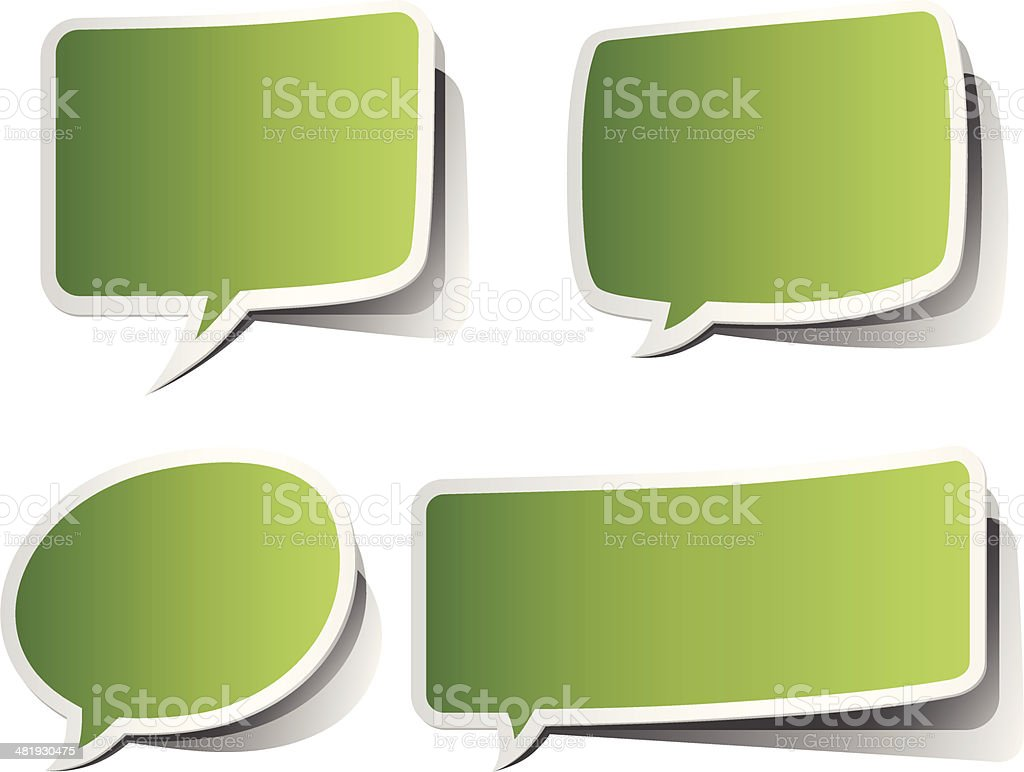 Green Peeling Speech Bubbles royalty-free stock vector art