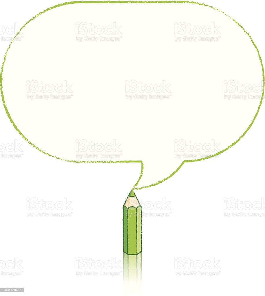 Green Pencil Drawing Oblong Speech Balloon royalty-free green pencil drawing oblong speech balloon stock vector art & more images of acute angle
