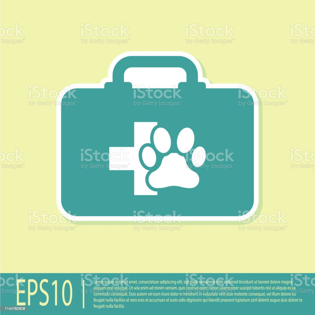 Green Pet First Aid Kit Icon Isolated On Yellow Background