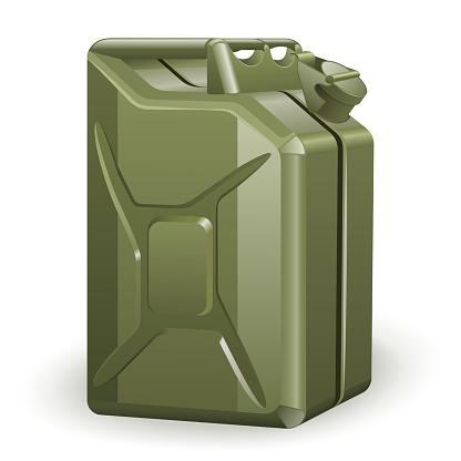 Green petrol canister
