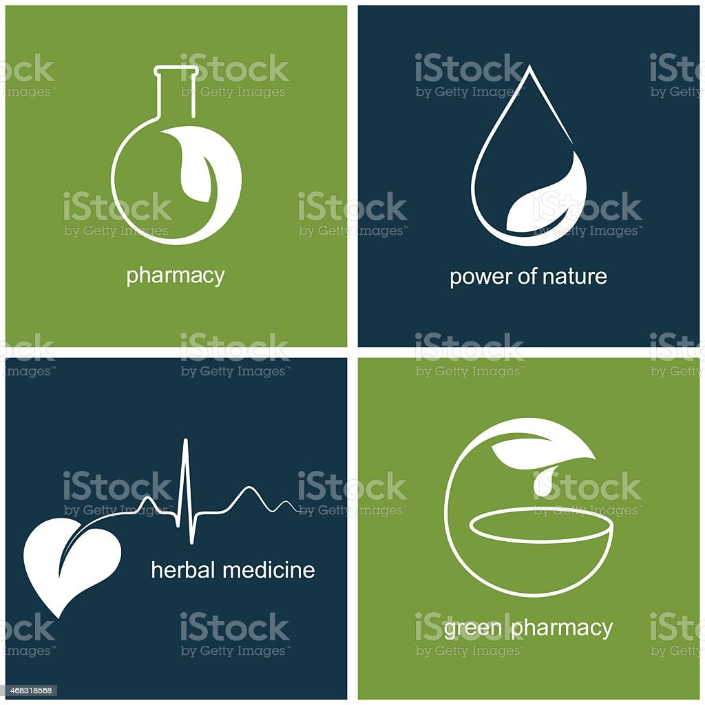 Green pharmacy and herbal medicine icons vector art illustration