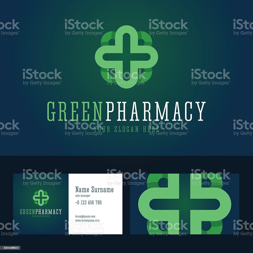 Green Pharmacy Emblem And Business Card Template Stock Vector Art
