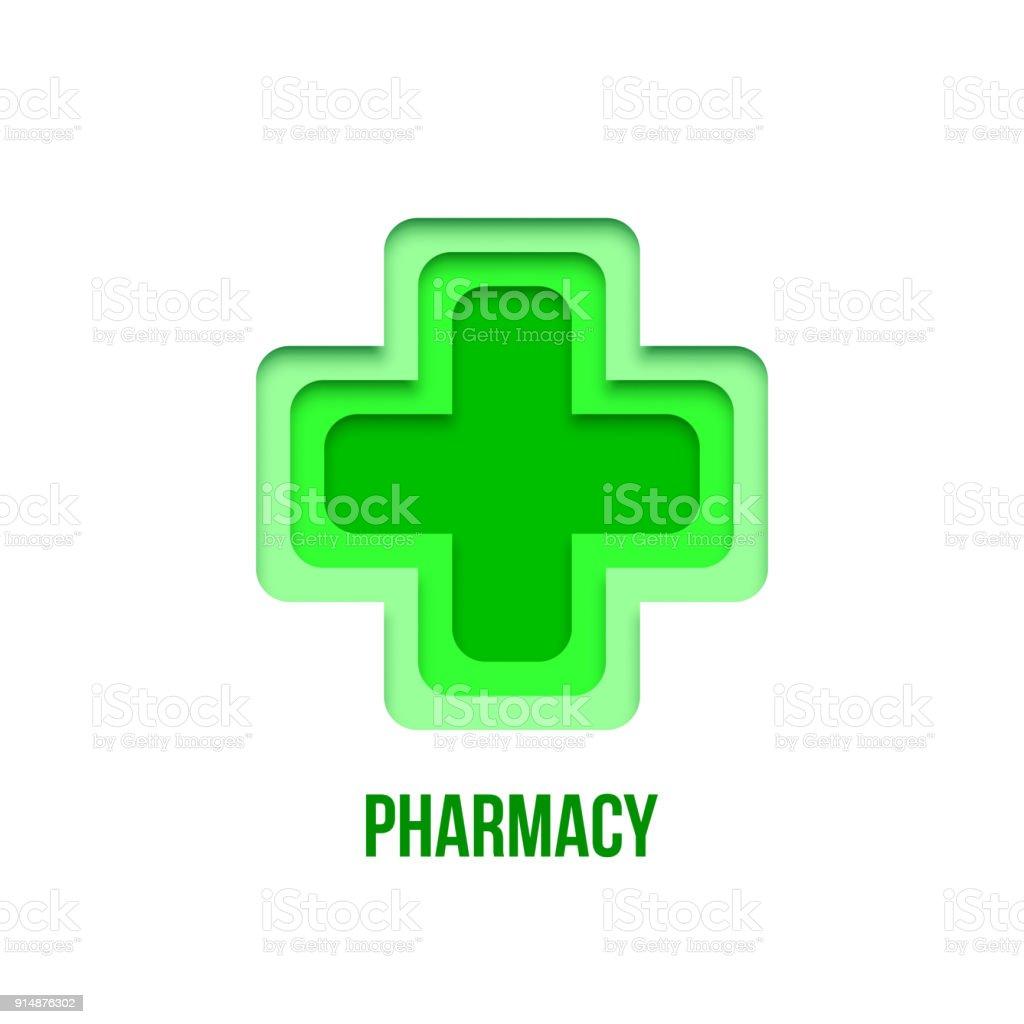 Groene apotheek teken. Vector papier kunst apotheek symbool geïsoleerd op een witte achtergrond. RGBvectorkunst illustratie