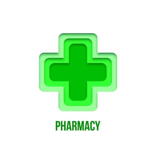 illustrazioni stock, clip art, cartoni animati e icone di tendenza di green pharmacy sign. vector paper art pharmacy symbol isolated on white background. rgb - croce farmacia
