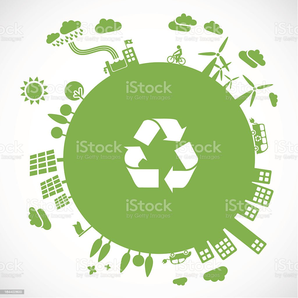A green picture of earth with the recycling logo royalty-free stock vector art