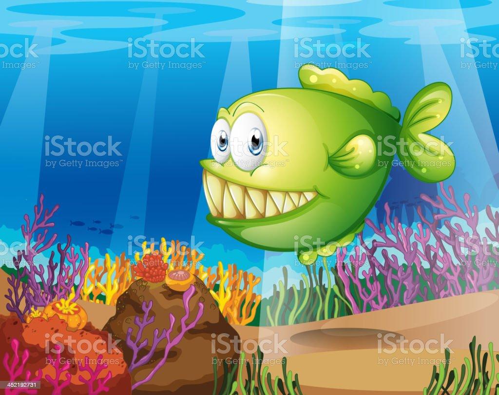 green piranha vector art illustration