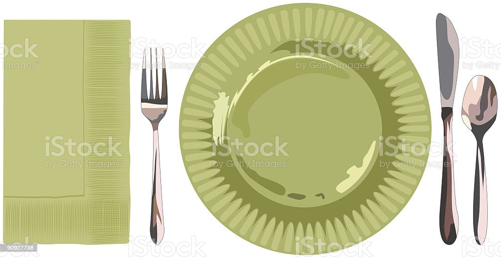 Green Place Setting Illustration royalty-free stock vector art