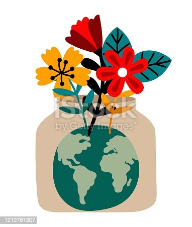 Green Planet. Environmental protection and ecology. Saving Earth flora metaphor, conserving resources vector illustration