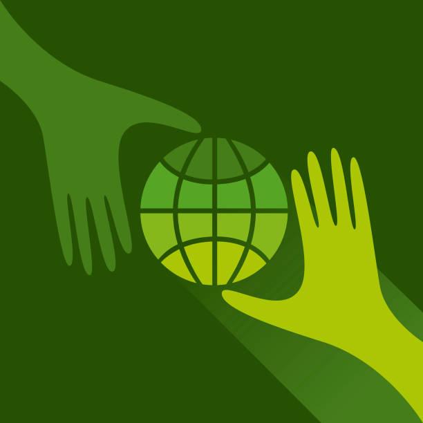 Green planet vector art illustration