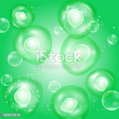 istock Green plant cells vector background for research ads, eco product poster. Ecological research, environment and flora protection issues, healthy structure microorganisms. Chlorella algae, spirulina. 1323472213