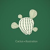 Green plant prickly pear cactus with four spikes, succulent abstract illustration, vector logo in flat style
