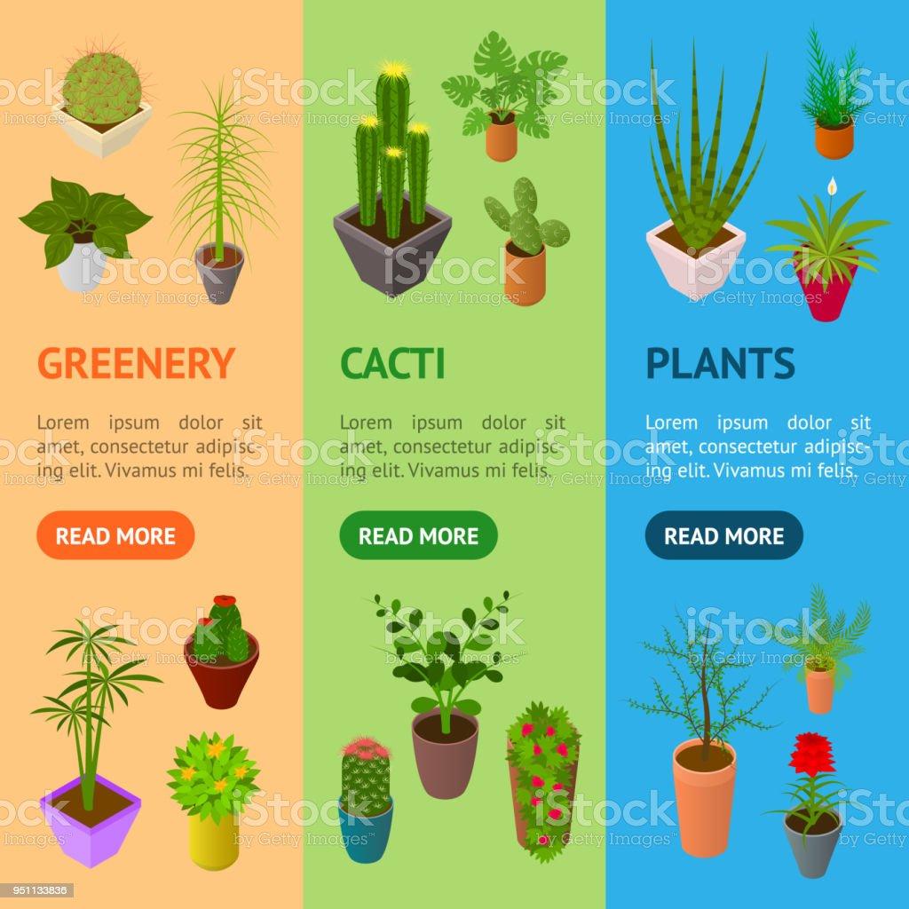 Wundervoll Grüne Pflanzen Foto Von Grüne F Banner Vecrtical Set 3d Isometrischen