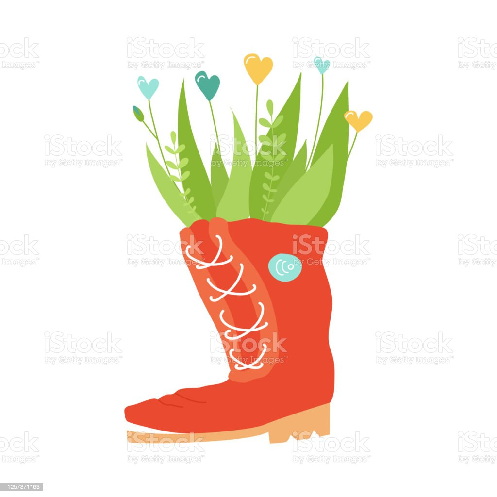 Green Plants In Pots From Old Shoes Cute Boots With Flowers Zero Waste Upcycling Ideas Reuse Of Utilized Vertical Gardening Concept Colourful Vector Illustration With Copy Space Stock Illustration Download Image