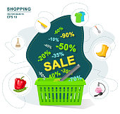 Vector illustration. Green plastic shopping basket discount. Selling a wide variety of goods. Sale, interest