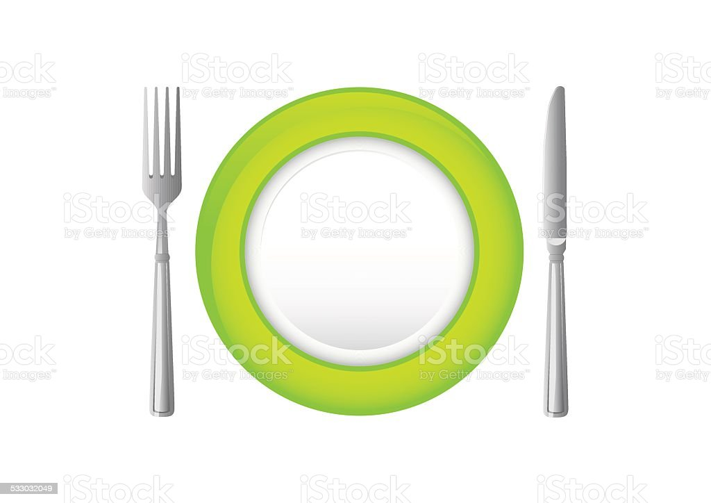 Grüner Teller mit Messer und Gabel. – Vektorgrafik