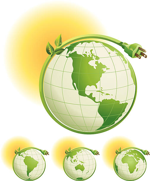 illustrations, cliparts, dessins animés et icônes de green plug qui s'enroule globes avec différents continents-l'énergie du monde - rallonge électrique