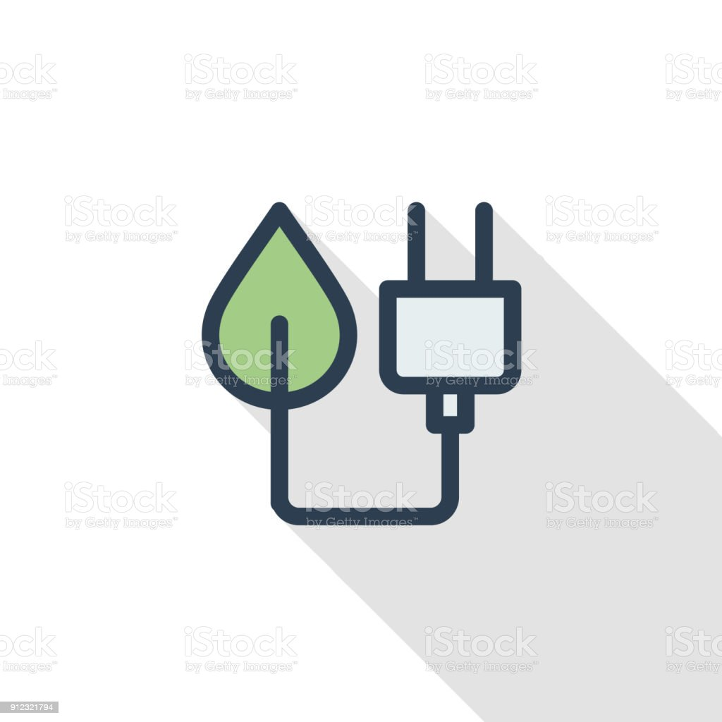 Green Plug Eco Energy Power Socket Thin Line Flat Color Icon Linear
