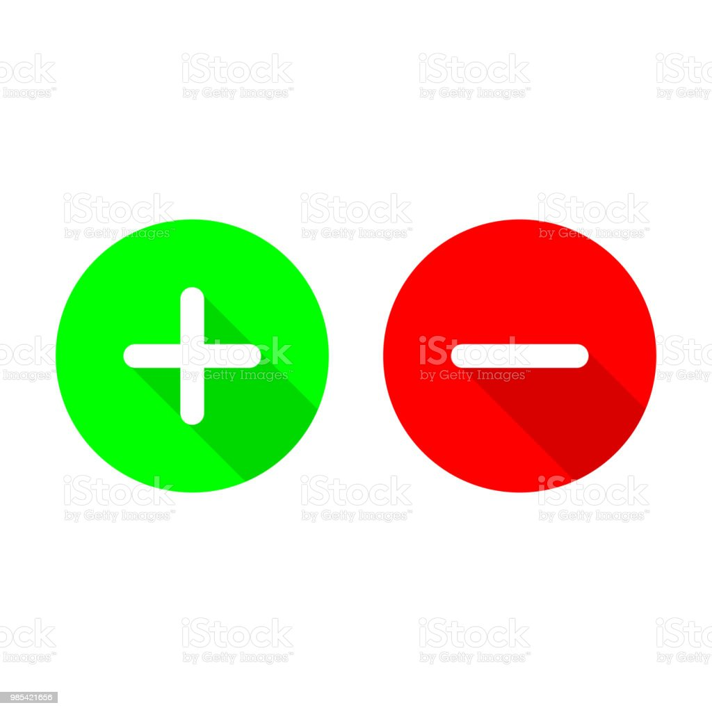 Green Plus And Red Minus Flat Vector Iconscircle Symbols Add And