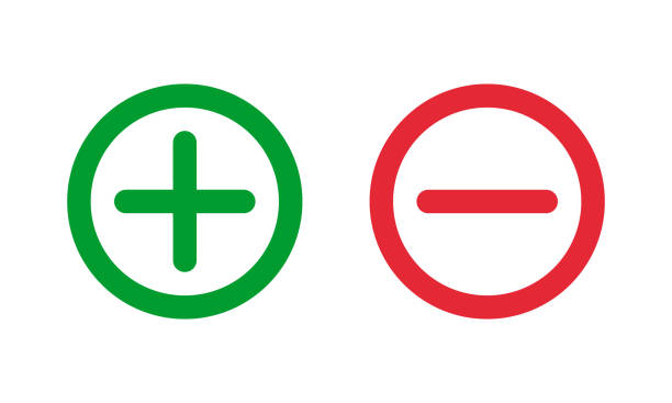 illustrazioni stock, clip art, cartoni animati e icone di tendenza di simboli meno verdi più e rossi, segni vettoriali rotondi a linea sottile - segno meno