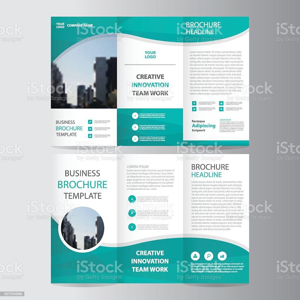 Green polygon elegance business trifold business Leaflet Brochure flyer royalty-free stock vector art