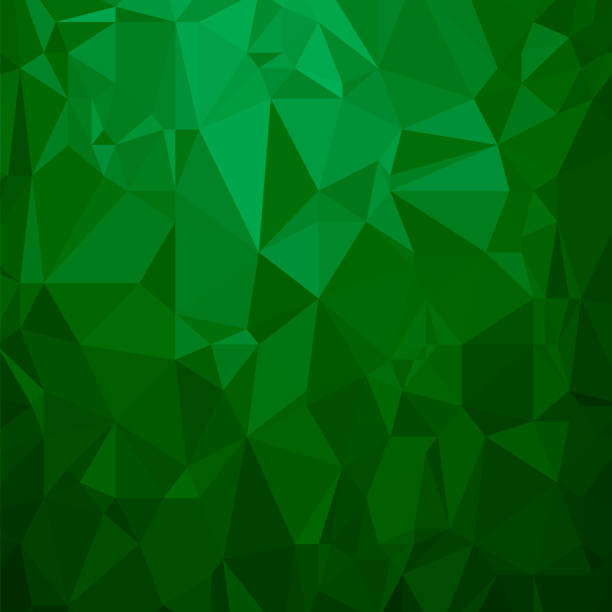 Green Polygonal Background. Triangular Pattern. Low Poly Texture. Abstract Mosaic Modern Design. Origami Style vector art illustration