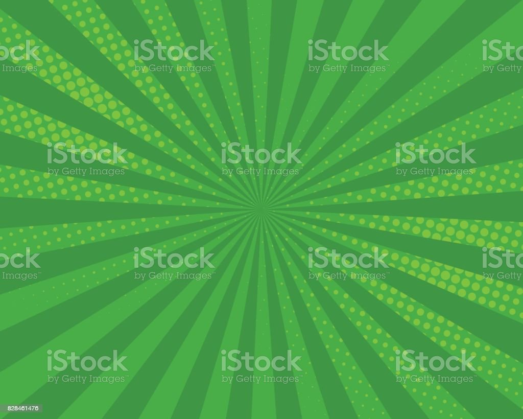 Green pop art comic background, vector illustration. vector art illustration