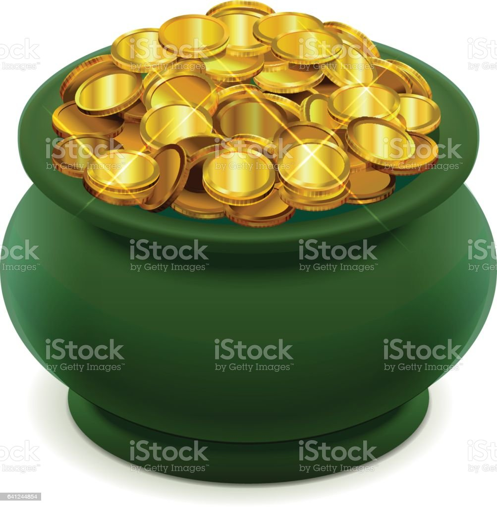 royalty free cartoon of the pots gold clip art vector images rh istockphoto com free clipart pot of gold coins pot of gold clipart black and white