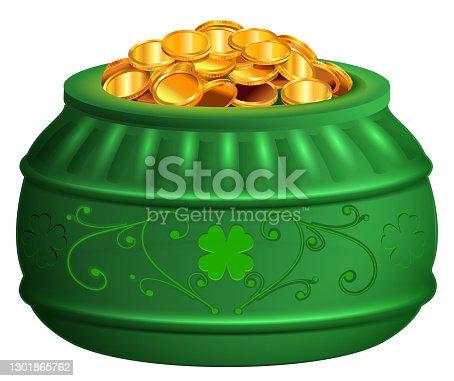 Green pot of gold coins. Saint patricks day treasure symbol clover luck