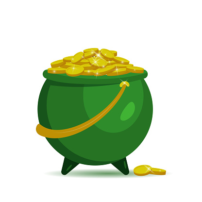Green pot with gold coins for Patrick's day. Vector illustration isolated on white background. For banner, poster, flyer, card, invitation. Symbol of good luck and wealth.