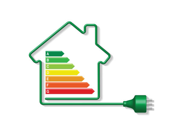green power cable forming a house icon with energy efficiency index - electrical wiring home stock illustrations, clip art, cartoons, & icons