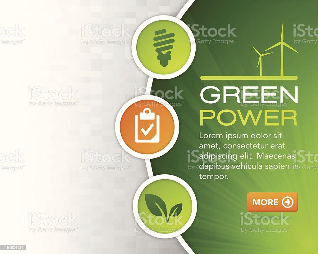 Green Power Design Background vector art illustration