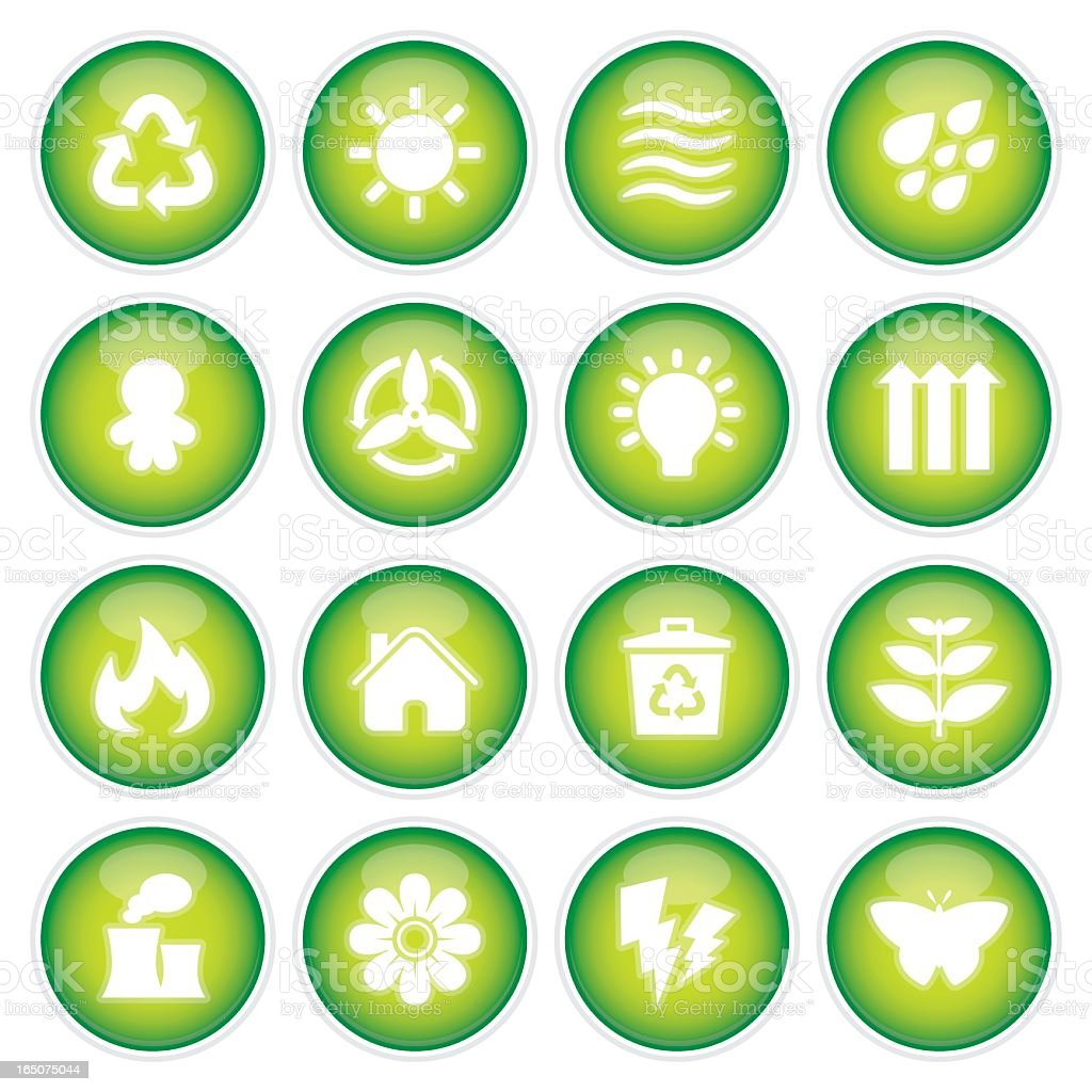 Green Power & Recycling Icons | 3D royalty-free stock vector art