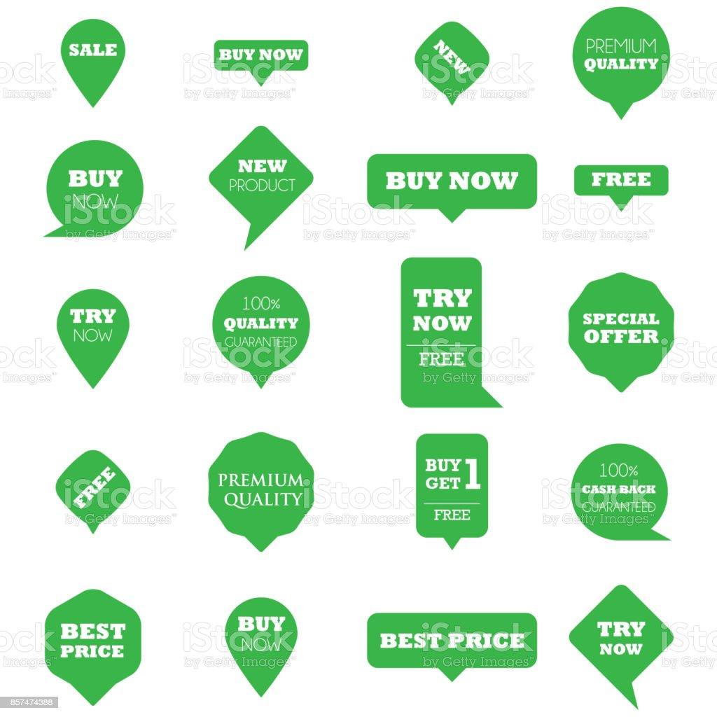 Metin ile yeşil promosyon işaretçiler vektör sanat illüstrasyonu