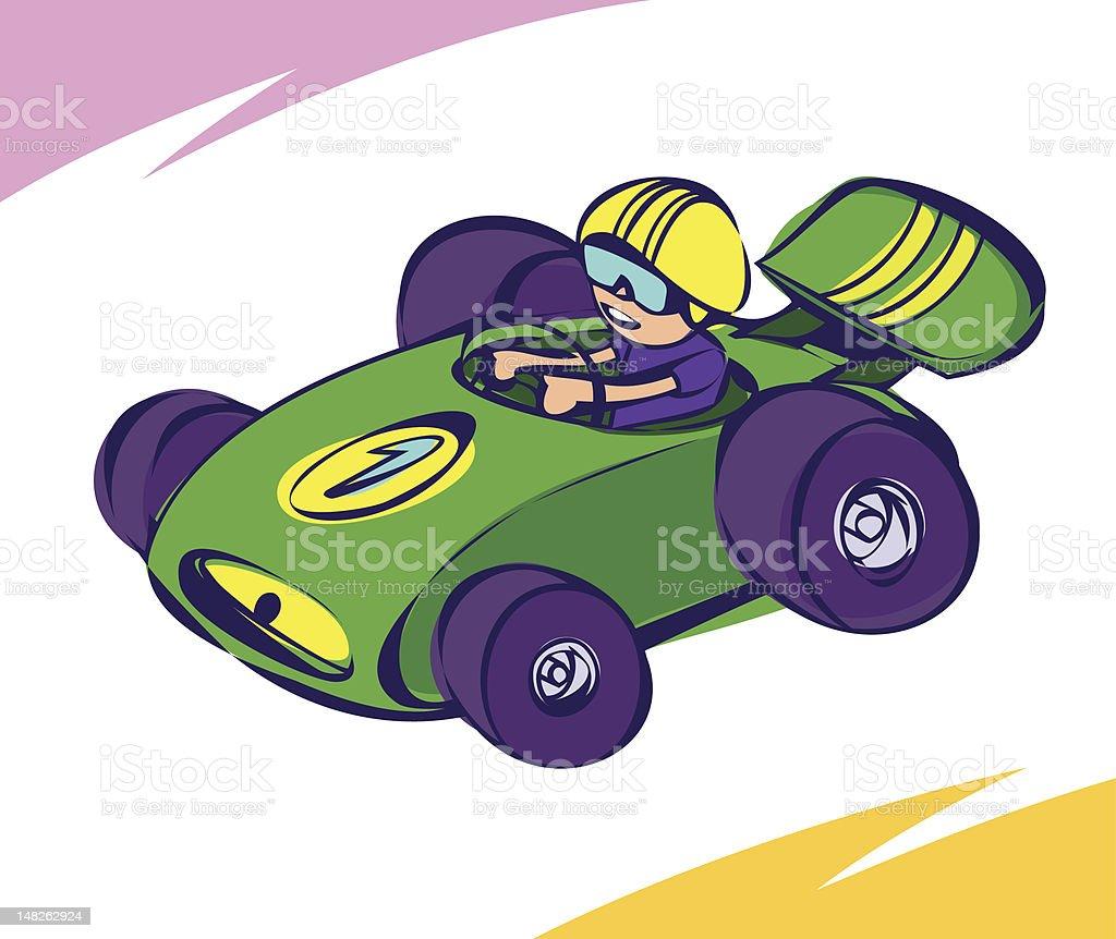 Green Race Car vector art illustration