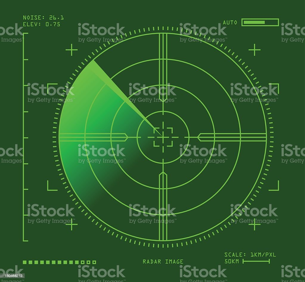 Green radar image, square with dark background vector art illustration