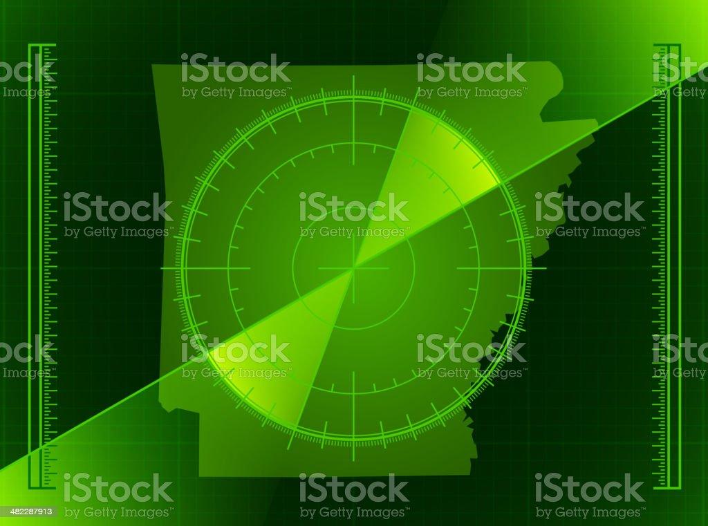 Green Radar Screen and Arkansas State Map royalty-free stock vector art