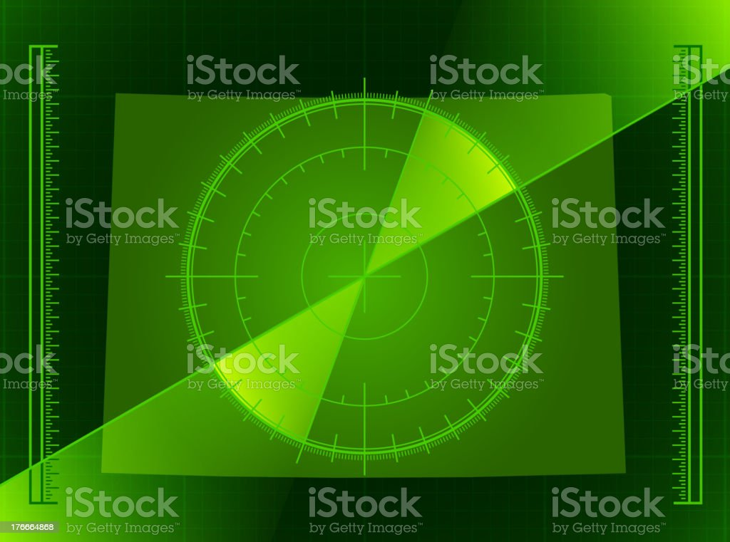 Green Radar Screen and Colorado State Map royalty-free stock vector art