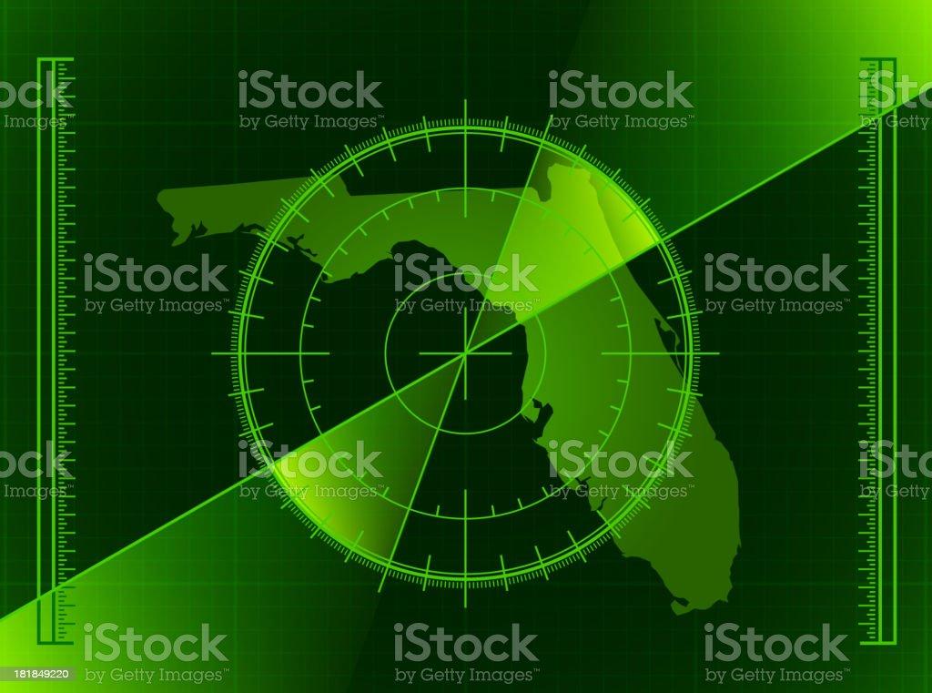Green Radar Screen and Florida State Map royalty-free stock vector art